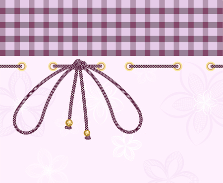 chequered ribbon: pink plaid background with a cord tied bow.