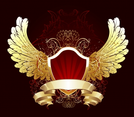red gilded shield decorated with gold feathered wings and a flexible golden ribbon