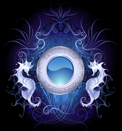 esoteric: round blue banner with the sea dragons on a black background luminous, decorated with fantastic patterns.  Illustration