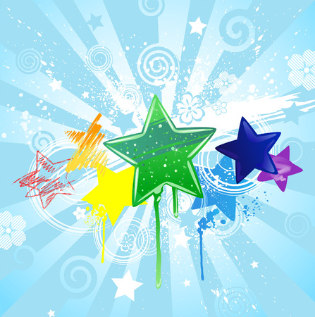tarnished: stars: red, yellow, orange, green, blue and purple, radiant in a blue background.