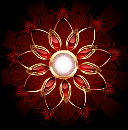 Round banner decorated with abstract flower jewelry with red, smooth rubies.  Illustration