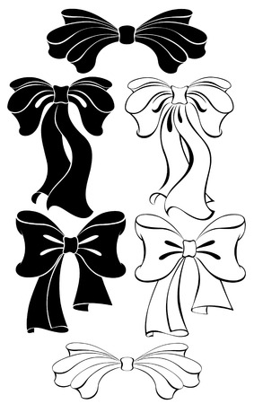 ribbons and bows: Stylized, contoured, black bow on a white background.