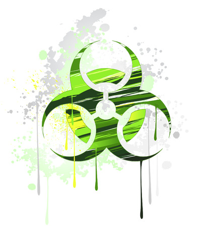 conceptual symbol biological of danger drawn with green and yellow paint on a white background.  Illustration
