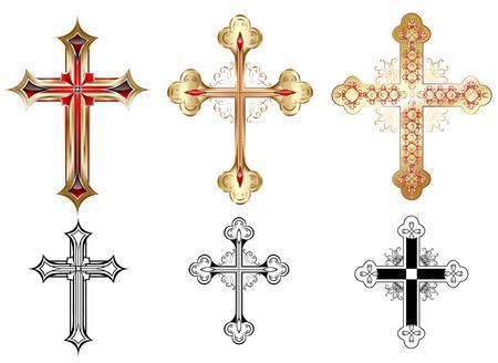 simbolos religiosos: tres cruz de oro adornada con el modelo rojo y siluetas negras de la cruz sobre un fondo blanco.