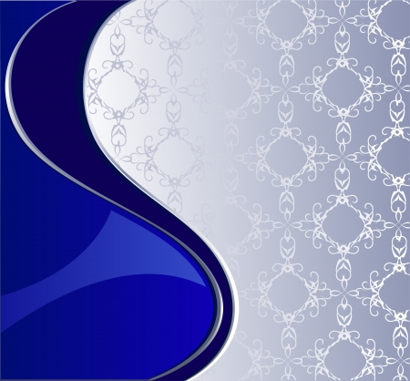 royal background: luxurious blue and silver background with the original silver pattern.
