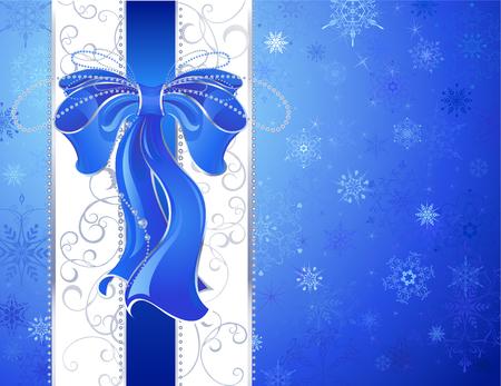 ruban blanc: bleu, luxueux, ruban de soie avec un ruban blanc sur un motif, neige, fond bleu de No�l