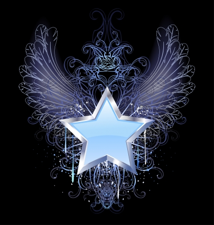 blue, silver star with angel wings outline, decorated with a drop of blue paint and a fancy pattern  Vector