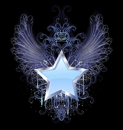 alas de angel: estrella azul, plata con alas de �ngel esbozo, decorada con una gota de pintura azul y un patr�n de lujo