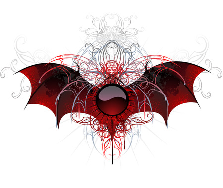 暗い、赤、白い背景の上のドラゴンの織り目加工の羽で飾られたバナーをラウンドします。