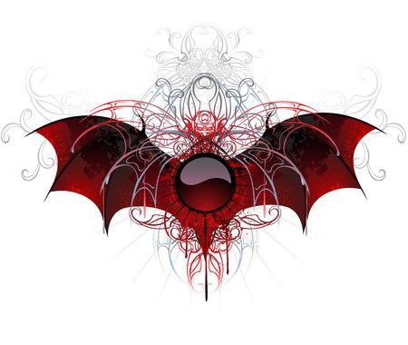rojo oscuro: El oscuro, rojo, redondo de la bandera adornada con las alas texturizadas de un drag�n en un fondo blanco