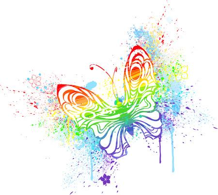 regenbogen: gestileerde vlinder beschilderd met regenboog kleuren, op een witte achtergrond