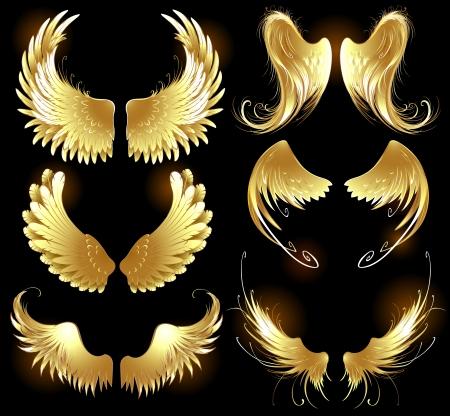 Arts geschilderd, gouden engel vleugels op een zwarte achtergrond