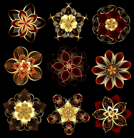set of abstract, jewelry, gold, stylized flowers on a black background