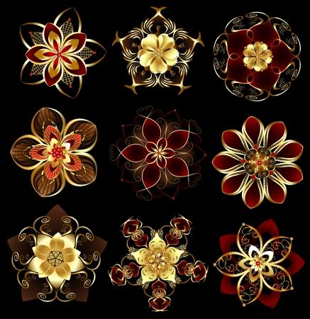 conjunto de abstractos, joyas, oro, flores estilizadas sobre un fondo negro