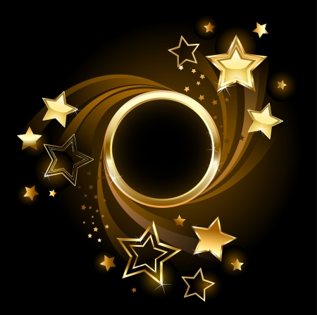 Bandera de oro redonda con oro, estrellas brillantes sobre un fondo negro