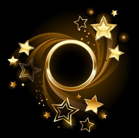 Ronde gouden banner met goud, glanzende sterren op een zwarte achtergrond