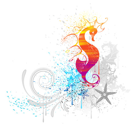 the sea horse, is drawn with red and yellow paint on a white background  Vector