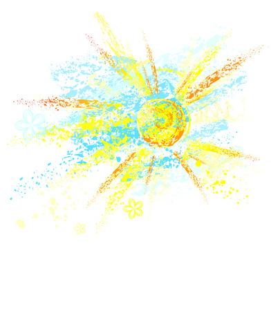 festékek: nap és az ég, festett akvarell ceruzák és ceruza, fehér háttér