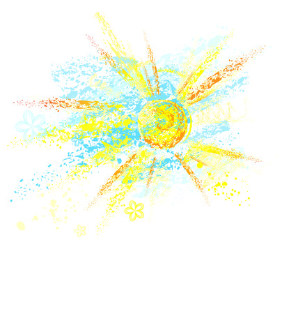 crayon drawing: sun and sky, painted watercolor crayons and pencils on white background
