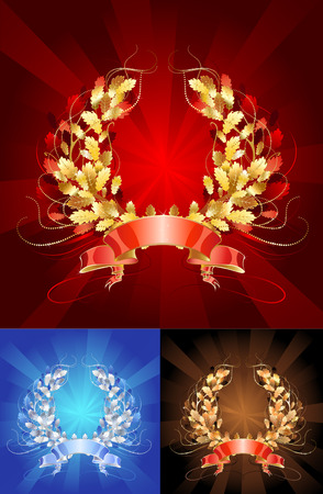 sparkling jewelry, oak wreath, made in three versions  gold, silver and copper  Vector