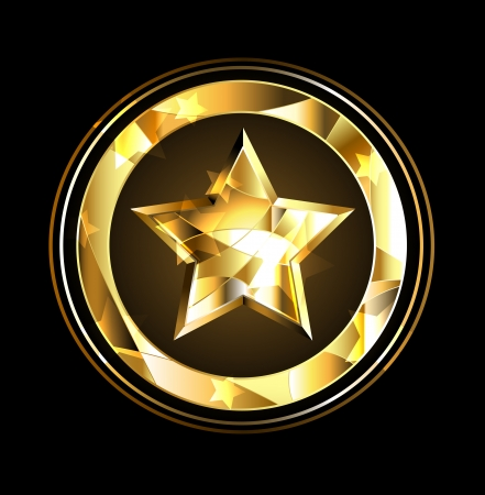 gold star: gold star in the circle of foil over a black background