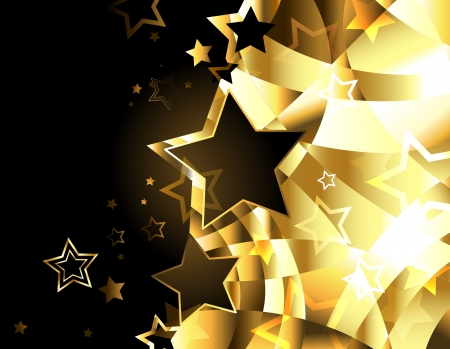 shiny, gold, abstract background with stars