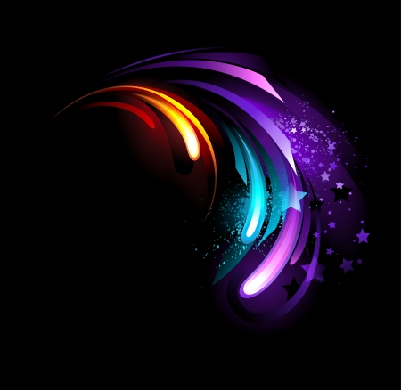 abstract , blue , purple , hot  crystal on a black background