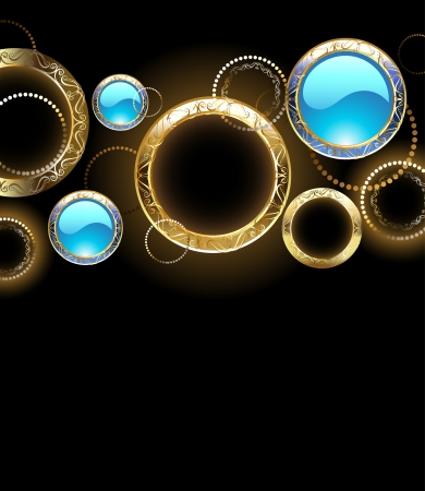 black background with gold rings and turquoise glass circles