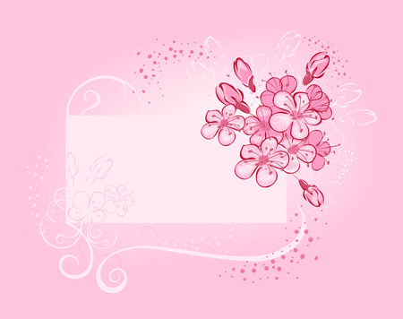 flowerses: Banner with flowering cherry on pink luminous background with white pollen and fine frame