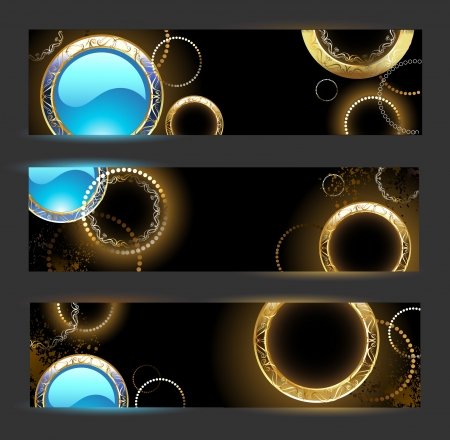 gilding: banner with golden rings and turquoise glass circles on a black background