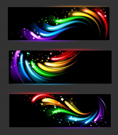 Three horizontal banners with rainbow , abstract, glowing pattern on a black background  Vector
