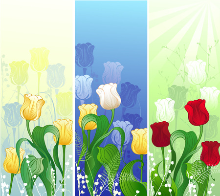 artistically: Three banner with a stylized, artistically painted red, yellow and bright tulips        Illustration