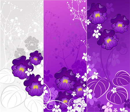 Three banner with a stylized, artistic painted violets and ornamental plants on a white and purple background