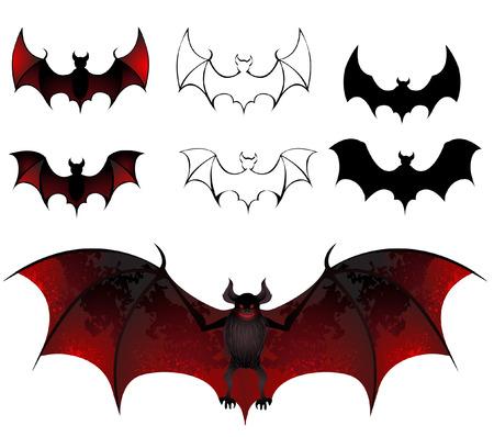흰색 배경에 아름 다운 질감의 날개를 가진 예술적으로 그린 박쥐 일러스트