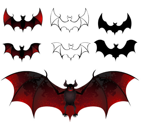 artistically: artistically painted bats with beautiful texture wings on a white background