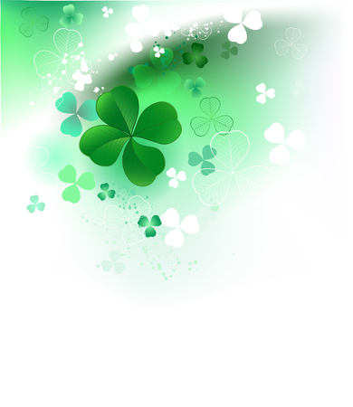 clover with four leaves on a white background with green and white shamrock Illustration