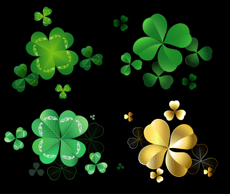 three leaf clover: Set of green and gold leaves clover with three and four leaves on a black background   Illustration