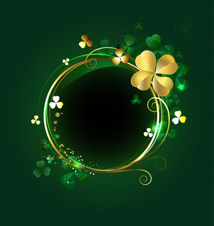 round golden banner with shamrocks and clover with four leaves on a green background