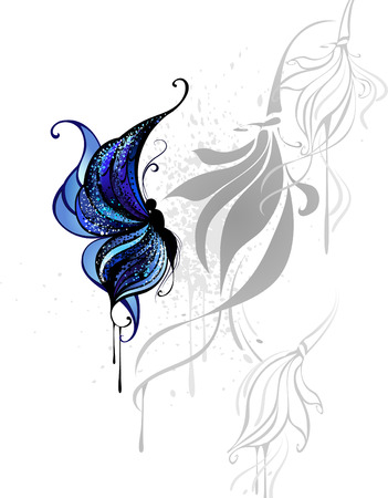 butterfly drawn with dark blue and black paint on a white background with the gray stylized flowers