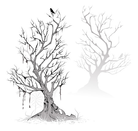 the crows: Two artistic painted, dead, dried tree on a foggy, terrifying swamp