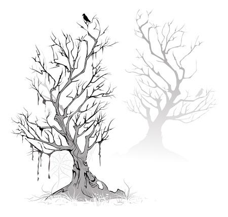 Zwei künstlerische gemalt, tot, getrocknet Baum an einem nebligen, erschreckend Sumpf