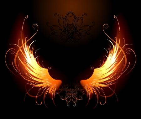 검정색 배경에 예술적으로 그린 불 날개 일러스트