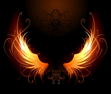 author: artistically painted fiery wings on a black background