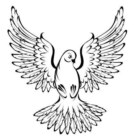 Arts of painted, flying, dove outline on a white background