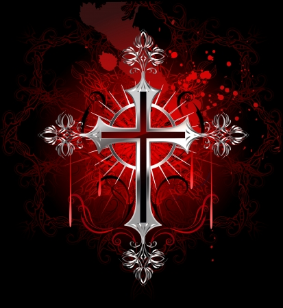 grunge cross: jewelry, gothic silver cross on a black background decorated with a pattern by copyright and stained with paint  Illustration