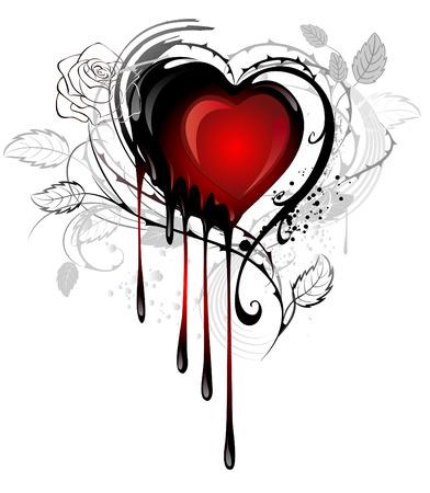 rojo: corazón pintado negro y rojo de la pintura, decorado con tallos espinosos de rosas sobre un fondo blanco Vectores