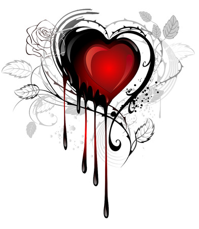 heart painted black and red paint, decorated with spiky stalks of roses on a white background