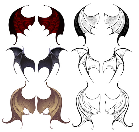 three pairs of leather membranous wings, contoured and detailed painted on a white background  Vector