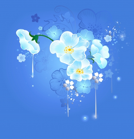 Art drawn by the magical white flowers on a blue glowing background