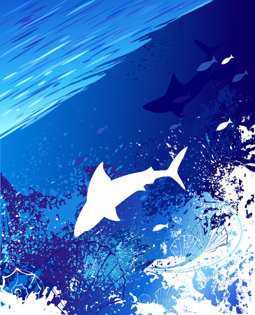 sea, underwater background with a white shark, shells and fish, painted blue and white paint  Vector